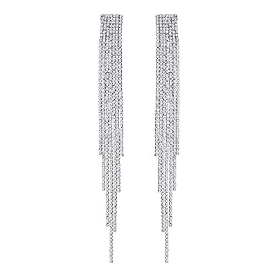mecresh Extra Long Rhinestone Drop Earrings, Women's Sparkling Waterfall Fringe Tassel, Crystal Statement Studs Wedding Bridal Party