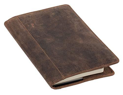 Pride and Soul 30124 - Ledereinband DIN A5 PERKINS, Lederhülle für Notizbuch, Buchhülle aus Echt Leder, Buchumschlag in braun, Einband mit Lesezeichen, 8 Visitenkartenfächern und Stiftschlaufe