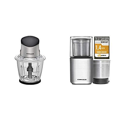 ROMMELSBACHER Multi Zerkleinerer MZ 500-1,5 Liter Glasbehälter, 500 Watt & Gewürz und Kaffee Mühle EGK 200-2 Edelstahlbehälter mit Schlagmesser & Spezialmesser, Füllmenge 70 g, 200 Watt