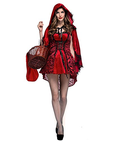 LaLaAreal XINSH Disfraz Halloween Caperucita Roja Mujer Cosplay Carnaval Navidad Fiesta con Capa