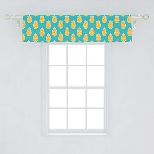 "Lunarable Fruits Window Valance, Pineapples Caribbean Tropical Hipster Organic Exotic Jungle Kitchen Print, Curtain Valance for Kitchen Bedroom Decor with Rod Pocket, 54"" X 12"", Turquoise Mustard"
