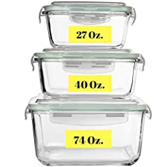 LARGEST GLASS CONTAINER SET on Amazon. BPA Free and Non-Toxic. Includes 3 Glass Food Storage Containers In Extra-Large 74 oz (2200 ml), Large 40 oz (1200 ml) And Medium 27 oz (800 ml) sizes. AIRTIGHT AND WATERTIGHT Silicone Sealed BPA-Free Plastic Li...