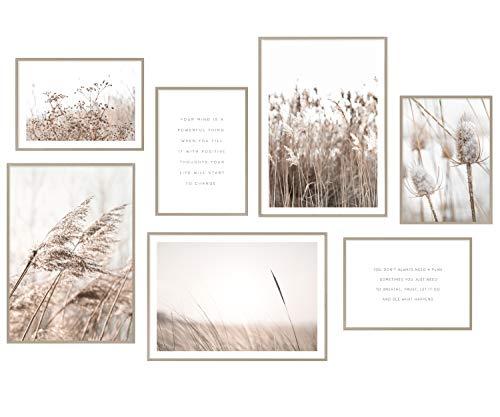Hyggelig Home Premium Poster Set - 7 passende Bilder im stilvollen Set - Collage Bild Wand Deko - 3 x DIN A3 + 4 x DIN A4 - Set Beige ohne Rahmen