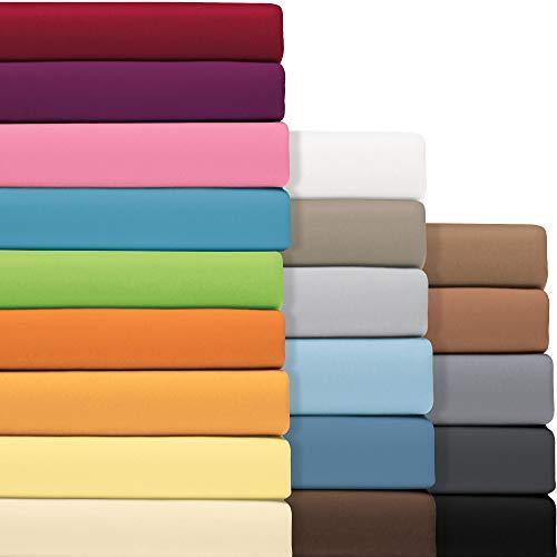 REDBEST Jersey- Stretch Spannbettlaken San Francisco 100prozent Baumwolle schwarz Größe 140x200-160x200 cm- weiche Qualität, bügelfrei, R&umgummi, bis 20 cm Höhe (weitere Größen + Farben)