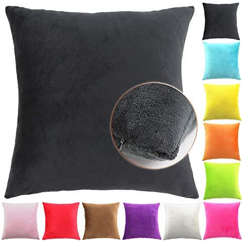 Easondea kussenslopen Deluxe slaapkamer sofakussen kussensloop Zwart 35x50cm