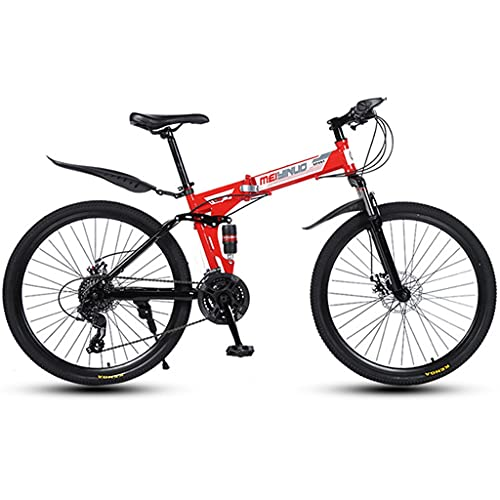 Mountain Bike Youth Adult Mens Womens Bicycle MTB Bike,26 Inch Wheel-21/24/27 Speed Full Suspension Bicycle Lightweight Mountain Bike for Women Men Adults ( Color : Red , Size : 21Shimano Speed )