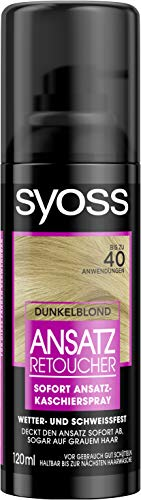 SYOSS Ansatz Retoucher, Ansatzspray dunkelblond, hochwertige Haarfarbe im 3er Pack (3 x 120ml)