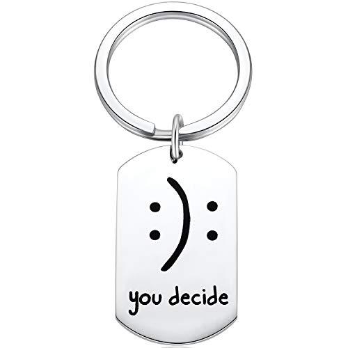Ralukiia Cute Emoji Tote Smiley Face Emoji You Decide Keychain Happy or Sad Emoji Humor Sarcasm Birthday Gift for Quirky Ladies
