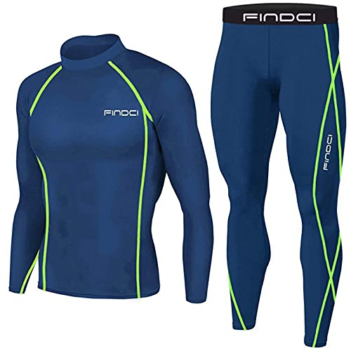 Conjunto de fitness para hombre, camiseta de compresión + pantalón, conjunto de fitness, traje deportivo de manga larga, secado rápido, chándal para gimnasio, yoga, 2 piezas, azul marino, XXL