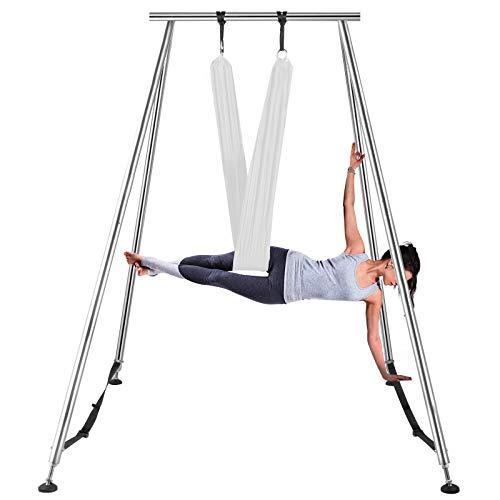 VEVOR 6M Luftyoga Hängematte Set Luftyoga Trapez Schaukel Zubehör Luft Yoga Ständer Aufhägung für Yoga Anti-Schwerkraft(Weiß)