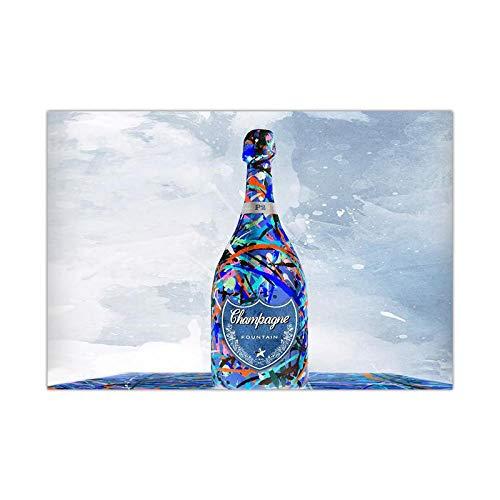 FUYUHAN Cartel nórdico, Mural Mural Moda nórdica Impresión en Lienzo Póster Botella de Vino Pintura Moderna Abstracta e impresión Mural Sala de Estar Cocina Decoración-75X100CM Frameless_A1394