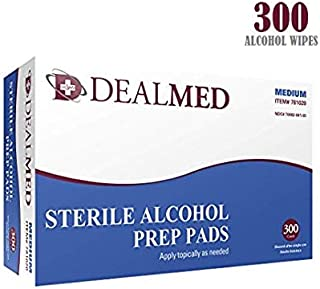 Dealmed Sterile Alcohol Prep Pads, Antiseptic Latex-Free Wipes, Gamma Sterilized, 300 Count