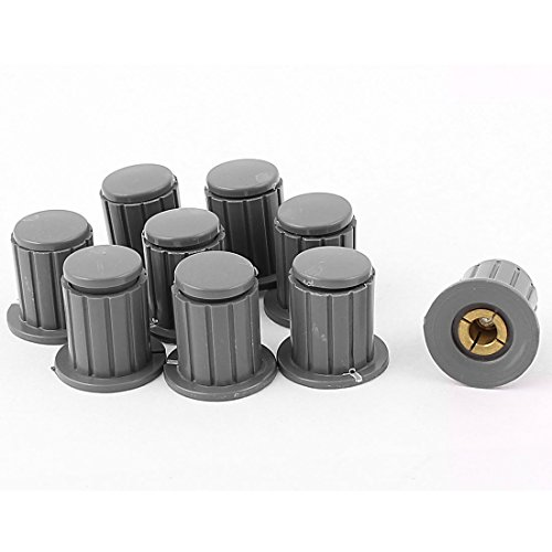 Aexit 9Pcs Plastic Shaft Collars Shell Metal Insert Potentiometer Knob Cover for Heat Shrinkable Shaft Collars 4mm Shaft
