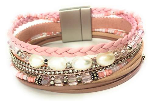 Feelinko Facettenreiches Armband Armkettchen Wickelarmband Armreif Damen Women pink rosa Rose