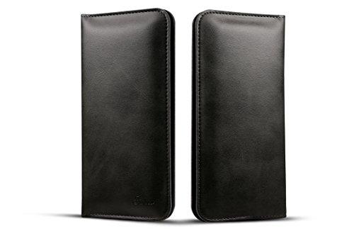 FQIAO Portafoglio Custodia per iPhone 7/7 Plus,Samsung,HTC,Nokia,LG,Moto Huawei Piena Protezione Copertina con Slot per schede Morbido PU Pelle Durevole Borsetta(Nero)