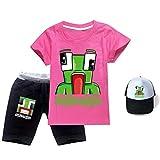 Unspeakable - Juego de camiseta de algodón unisex para niños, 3 piezas, camiseta corta + pantalones cortos + sombrero para el sol para niños y niñas