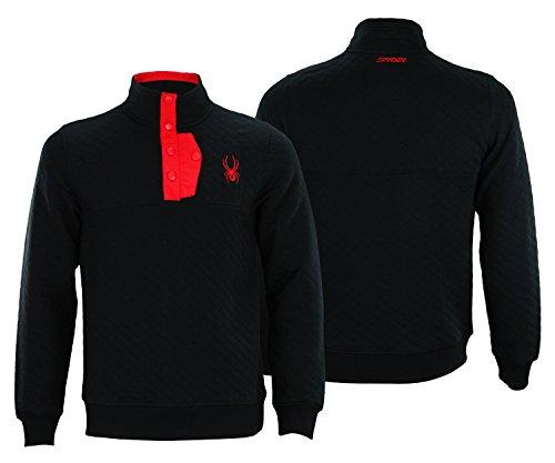 Spyder Mens Mens Quilted Pullover Fleece Black XL