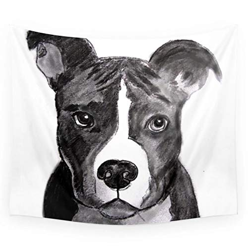 Tapestry Pit Bull Dogs Lovers Wall Hanging Polyester Home Bedroom Decor Bedspread Beach Mat Blanket Yoga Mat Dorm Decor-130cm×150cm