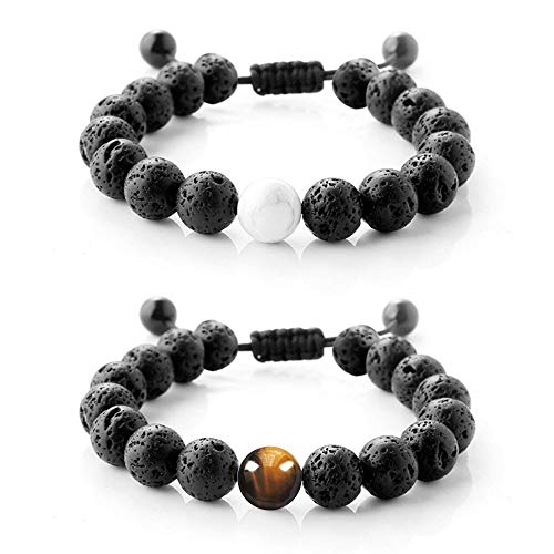 2 Packs Adjustable Lava Stone Diffuser Bracelet Calm Yoga Lava Bracelet Genuine Lava Rock, Aromatherapy, Confidence, Meditation FOR MEN/WOMEN Christmas Gift