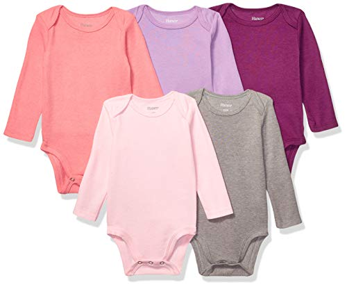 Hanes Ultimate Baby Flexy 5 Pack Long Sleeve Bodysuits, Purple/Pink, 12-18 Months