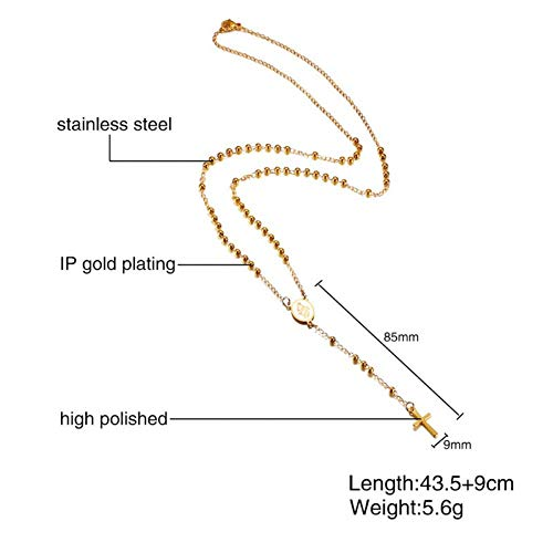 ERDING Ketting Sieraden/Verstelbare Lengte Rozenkrans Ketting Kralen Ketting Bedel Goud Kleur RVS Casual Vrouwelijke Sieraden