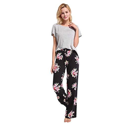 Lulupi Pants Damen Baumwolle,Damen Casual Freizeithose Jogginghose Straight Bein Hose mit Tunnelzug Yoga Pants High Waist Flower Blumenmuster Locker Weite Beine Lange Hose