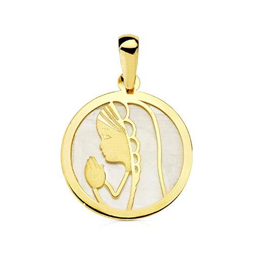 Medalla Oro 9K Virgen Niña 17mm. Fondo Nácar Borde Liso Redonda