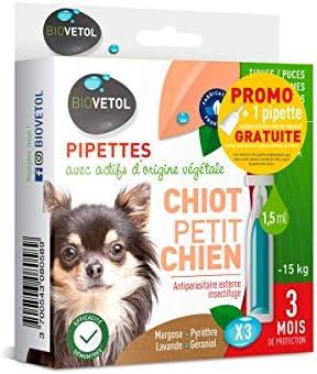 Biovetol - Offre Speciale - Pipettes Anti-Puce pour Chiot et Petit Chien (- de 15Kg) - 3x1,5ml + 1 Offerte