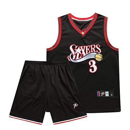 Allen Iverson # 3 Kinder Basketball Trikots, Philadelphia 76ers Männer Basketball Shirt Weste Top Mesh Summer Shorts 2-teiliges Set Swingman Jersey Kann wiederholt gewaschen Werden-Black-XS