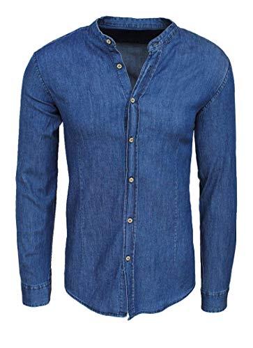 Evoga Camicia di Jeans Uomo Casual con Collo alla Coreana Slim Fit (XXL, A45# Blu Scuro)