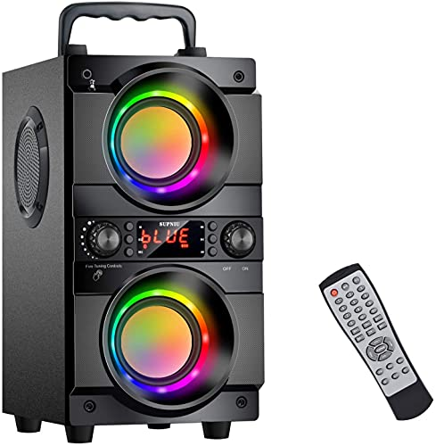 60 W (cumbres de 80 W), altavoz Bluetooth grande con doble altavoz de graves, luces LED de colores, 24 horas de autonomía, 30 metros de alcance, caja de música portátil con tarjeta AUX/TF.