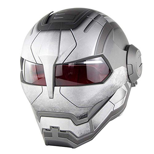 ZOLOP Motorrad-Integralhelm, DOT-Zulassung, Iron Man Transformers Harley-Flip-Helm im Retro-Stil (L, Mattes Grau)
