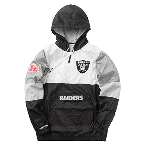 Mitchell & Ness Oakland Raiders Surprise Win Windbreaker Black Half Zip Jacket Jacke Anorak
