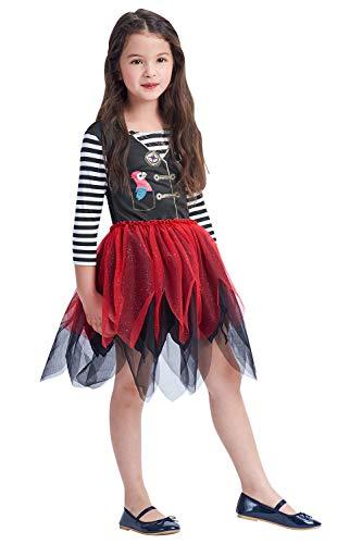 Disfraz de pirata para niñas, traje de bucanero para niños pequeños, vestido de princesa para Halloween, cosplay, carnaval