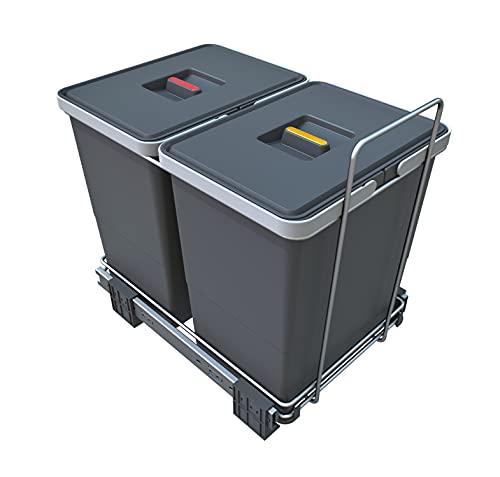 Elletipi ECOFIL PF01 34B2 Pattumiera Differenziata Estraibile per Base, Grigio, 8 Litri, 30x45x36 cm