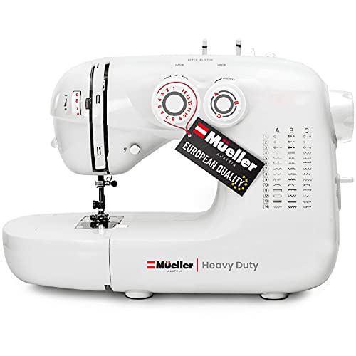 Mueller Heavy Duty Sewing Machine, 110 Stitch Applications, LED Light, Foot Pedal, Reverse, Buttonhole, Button and Zipper Sewing, Easy to Use, Thread Cutter, Removable Accessories Storage, White