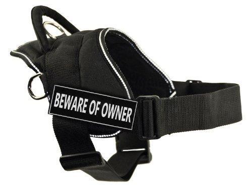 Dean & Tyler DT Fun Hundegeschirr, Aufschrift Beware of Owner, Schwarz mit reflektierendem Rand, Größe XXS, für einen Umfang von 45,7 bis 55,9 cm