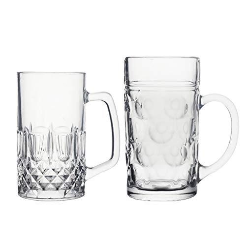 Bicchieri Bicchieri di Birra Extra Grande Tazza di Birra Trasparente Bicchiere da Bere con Manico per Feste Succo d Birra Bicchiere Birra (Color : Clear1+Clear2)