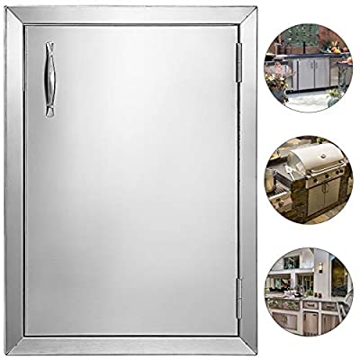 "Mophorn Outdoor Kitchen Access 16""x 22"" Wall Construction Stainless Steel Flush Mount for BBQ Island, 16inch x 22inch, Single Door"