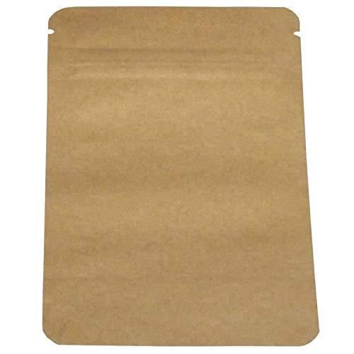 100 Aromabeutel Standbodenbeutel mit Druckverschluss 85x140 Papier Tütchen kraftpapier mit Boden für Verpackung von Kaffee,Tee Lebensmittel und Snack mehr Fa.ars