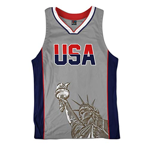 Greater Half Team USA Grey Basketball Jersey (XL)