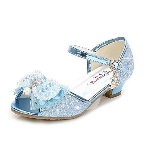 YOSICIL Sandalias de Princesa de Tacón Alto para Niñas Zapatos de Lentejuela Zapatilla Mariposa Sandalias de Latín Zapatos de Tango Zapato Flamenco con Diamantes de Mitación de Perlas EU26-38