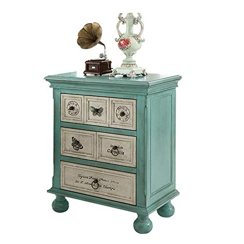 KTOL Blue Shabby Chic Nightstand with 3-Drawers,72cm Retro Bedside Furniture with 4 Table Legs Birch MDF Antique Bedroom Accessories Bedside Table Blue 28.3in