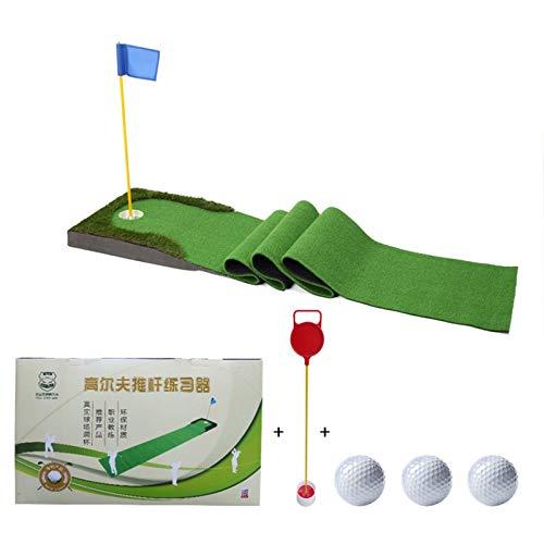 Esterilla de Golf portátil en para Entrenamiento Golf Putting Mat Practice Training Golf Putter Mats Green Interior al aire libre Golf Matting Mat con 3 pelotas de golf y 1 x bandera ( Color : Green )