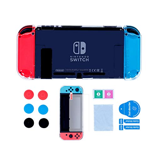 Dockable Case for Nintendo Switch, Protective Hard Case for Nintendo Switch console and Soft TPU Grip Case for Joy-Con with Tempered Glass Screen Protector and 6 Thumb Grips - Clear