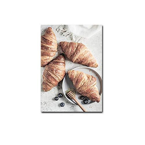 FRTTCYO póster Pan Cocina Arte de la Pared Impresión Vino Café Cartel Bebida Comida Lienzo Pintura Imagen Moderna Comedor Restaurante Decoración-50x70cmx1 Sin Marco