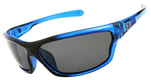 Nitrogen Men's Rectangular Sports Wrap 65mm Blue Polarized Sunglasses