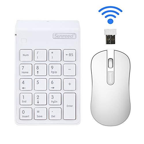 Juego de teclado 2 en 1. Combinación de teclado numérico y ratón óptico 2.4 G Mini USB numérico con receptor USB para oficina, portátil, PC de sobremesa (blanco)