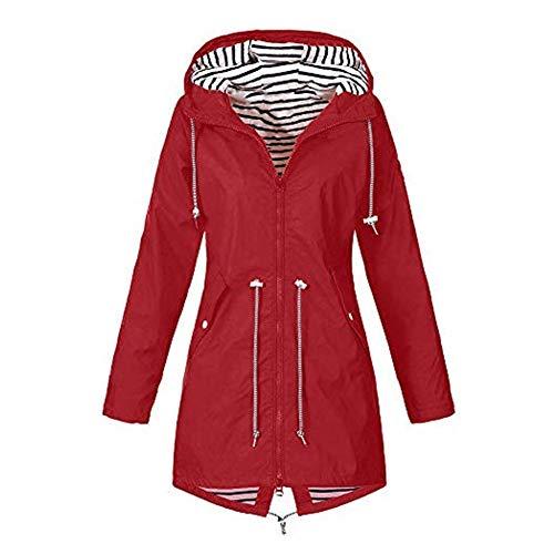 iHENGH Damen Herbst Winter Bequem Mantel Lässig Mode Jacke Frauen Herbst Langarm Mantel Fleece reißverschluss fliegen mit Kapuze einfarbig Sweatshirts(Rot, S)