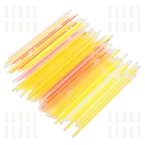 Scicalife 100 Unidades de Palos de Fiesta de Neón Brillantes a Granel Que Brillan en La Oscuridad Paquete de Favores de Fiesta Divertidos con Conectores de Barras de Neón Pulseras Y